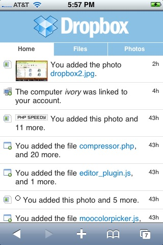 DropBox on iPhone